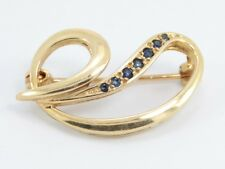Sapphire and 9ct Gold Ladies Brooch Stunning 375 Pin C8