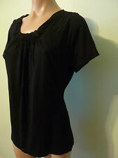 The Limited Black Gathered Pleated Neck Top M Short Slv Rayon Stretch Blouse