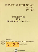 American Tool 17 X 60 17x80 And 21x80 Lathe Instructions And Parts Manual