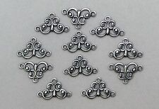 X1444 SM ANTIQUED SS/P 3-RING OPEN FILIGREE CONNECTOR - 48 Pc Lot (QTY DISC)