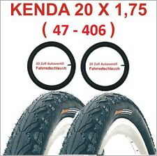 Kenda Fahrradreifen 2 X 20 Zoll Reifen 20x1.75 47-406 inkl.+2 x Schlauch mit AV.