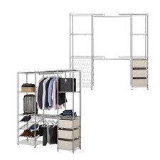 2 x Extendable Chrome Wardrobe Clothes Rail With 3 x Cream Linen Pullout Storage