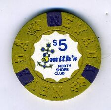 Old 5 Dollar Poker Chip from Smith's North Shore Club Nevada