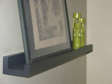 6ft / 72 inch BLACK floating wall ledge shelf / picture & art display (ALL WOOD)