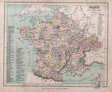 Carta geografica antica FRANCIA France SVIZZERA Switzerland Hughes 1878 Old map