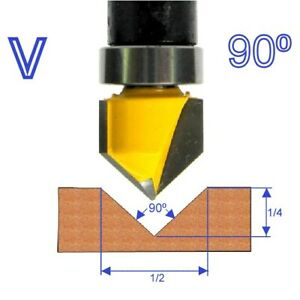 "1 pc 1/4"" SH 90° V-Grooving V-groove Top Bearing Router Bit  S"
