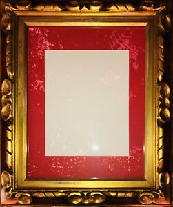 Frame Ornate Gesso Bright Red Gold With Glass And Mat Ready To Hang