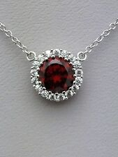 .925 Sterling Silver Garnet CZ Halo Pendant Necklace - January Birthstone