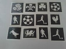 30 x CALCIO Stencil a tema per Glitter / aerografo tatuaggi BULL Rooster ROSE
