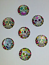 3PC. Mixed Candy Skull 25MM Glass Cabochons Santa Muerte Dome Flatback 25MM