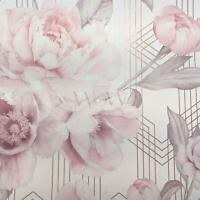 Belgravia Decor Stella Géométrique Floral Paillette Peint Fard Rose/Blanc 9750