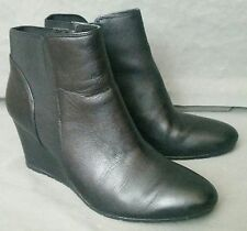 CLARKS Black Leather Wedge Booties Side Zip Womens 12M NEW Short Boot 26102745