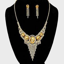 Golden diamante necklace set statement bling prom bridal bridesmaid sparkly 0522