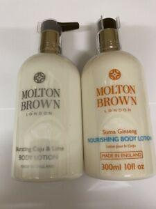 2 X 300ml ~ (600ML) MOLTON BROWN BODY LOTIONS ~ CAJU & LIME + SUMA GINSENG