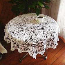 Pretty Hand Crochet Chic Design Round White Cotton Table Cloth