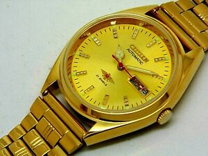Citizen automatic Men Gold Plated Golden Dial Vintage 21 Jewels Watch Run