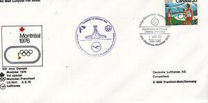 Canada 1976 Olympics cover flown on special Lufthansa flight Montreal-Frankfurt