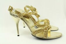 Francesco Sacco Claudio Milano Leather Sandal Gold Crystal Size 41 Italy #55