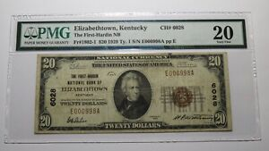 $20 1929 Elizabethtown Kentucky KY National Currency Bank Note Bill #6028 VF20