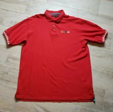 Coogi Mens Sz XL Hip Hop Short Sleeve Cotton Red Polo Shirt