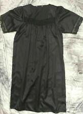 ladies BLACK silky satin nightie nightdress retro vintage style, long length NEW