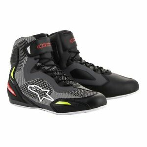 Alpinestars Faster-3 Rideknit Black Gray Red Yellow Fluo Motorcycle Shoes