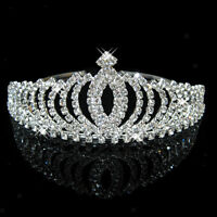 Wedding Party Bridal Princess Pageant Crystal Crown Headband Tiara Silver
