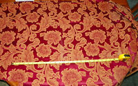 Burgundy Gold Flower Print Upholstery Fabric Remnant  F426