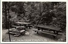 RPPC KY Olive Hill Carter Caves State Park Picnic Area Real Photo Postcard AB3