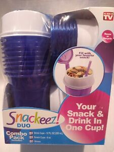 Snackeez Duo All-in-One Snacking Solution 30 Piece Kit Blue -AS SEEN ON TV - New