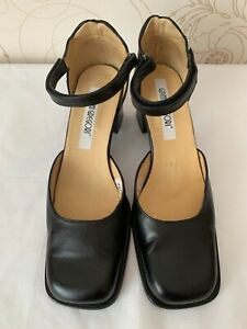 Gianni Gregori Vintage Leather Shoes Square Toe Ankle Strap Size US 12 EU 43