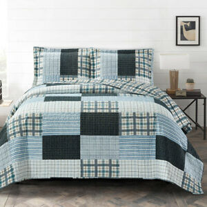 Zoe Reversible Quilted Printed Patchwork Oversized Bed Coverlet Set