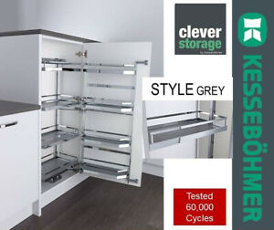 Kessebohmer 500mm Style Grey Soft close Tandem Pull Out Larder Studio Height