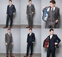 Men's Vintage Tweed 3 Piece Suit Wool Blend Check Formal Wedding Tailored Fit