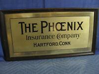 Phoenix Insurance Co., Hartford, Conn. Vintage Metal Sign c1930's