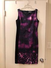 TAHARI dress womens sheath sleeveless black purple tie dye Size 10