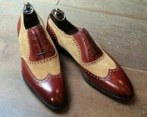 Handmade Men two tone leather Wingtip shoes, Men's beige and brown dress shoes
