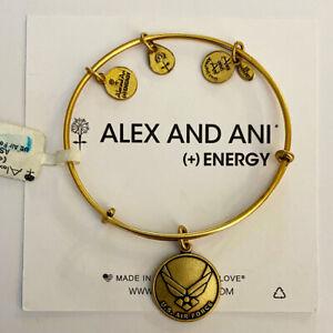 (3) Alex And Ani US Air Force Bangle Charm Bracelets Rafaelian Gold Finish