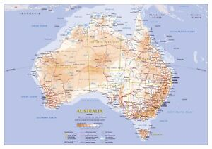 New Large detailed road map of Australia Poster Print or Canvas