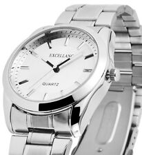 Herren Armbanduhr Silbern Metallarmband Gliederarmband von Excellanc