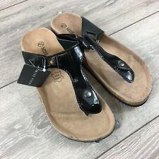 Miss Fiori Toe Shoes Ladies Sandals PU UK 5 EU 38 Leather Socks Black R541-13