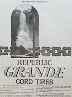 1919 Republic Grande Cord Tires Corporation Youngstown Ohio original ad