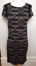 METALICUS Black Matte Gold Triangle Pattern Stretch Body Con Short Sleeve Dress