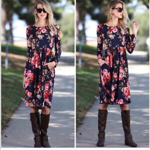 Floral Long Sleeve Dress Pockets Size Small NWT Fit and Flare Blue