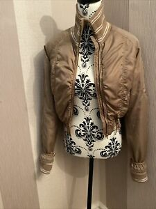 Baby Phat Beige & Gold Embroidery Bomber Jacket with Zip Size M - VGC