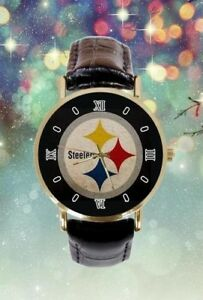 """""""Pittsburg Steelers Photo Custom Leather Band Analogue Men Or Women Watch"""