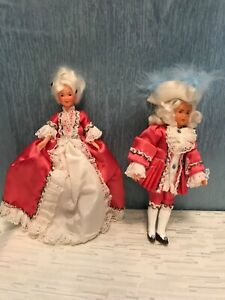 "Vintage 6"" Plastic Man & Woman Dolls in Victorian Outfits"