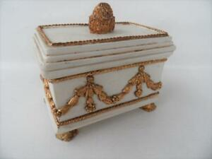 DEZINE FRENCH STYLE HAND PAINTED JEWELLERY BOX CASKET ORNATE GOLD DESIGN
