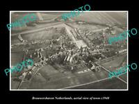 OLD LARGE HISTORIC PHOTO BROUWERSHAVEN NETHERLANDS HOLLAND TOWN AERIAL VIEW 1940