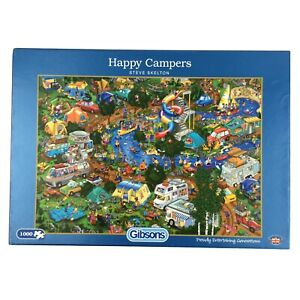 Happy Campers Jigsaw Puzzle 1000 Gibsons Holiday Tent Van Fishing BBQ Outdoor Fu